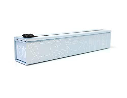 ChicWrap - Dispensador de papel de aluminio con cortador, papel de aluminio reutilizable, incluye 1 rollo de papel de cocina grueso de 300 mm x 9 m, se adapta hasta 30 metros, ideal como regalo de cocina