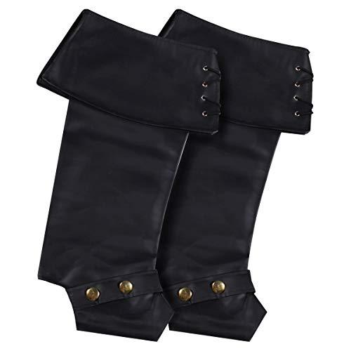 Pirat-schwarz-erwachsene Stiefel (Thetru Luxus-Stiefel-Stulpen in schwarz | Einheitsgröße Erwachsene | Piraten-Stiefel-Stulpen zu Karneval und Fasching)