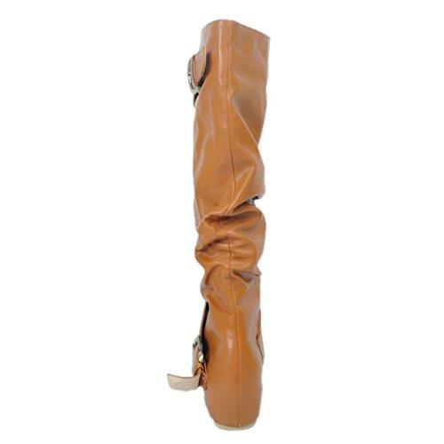 Kolnoo Femmes Bottes de mode à la main boucles Hi-top Party Daily Flats Chaussures brown