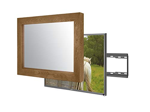 Handmade Framed Mirror TV with Samsung to Blend This Hidden Mirrored Television into Your Home or Business Decor (43 Inch, Flatenium Brown)