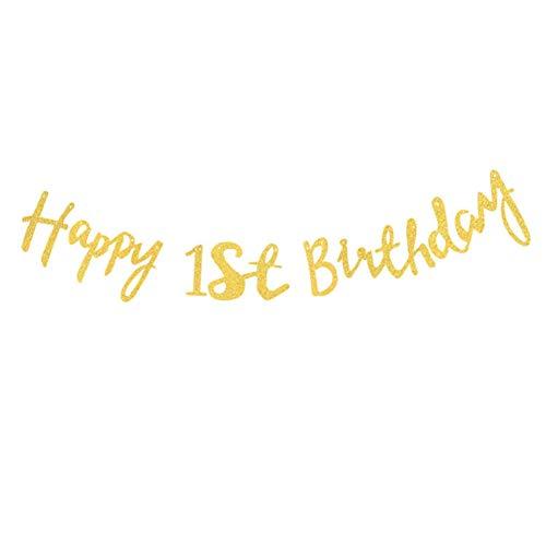 Hacoly Party Girlanden Wimpelkette Girlande Brief Happy Birthday Bunting Banner Gold Glitter für Kinder Party Geburtstage Hochzeit Zelt Dekoration Halloween Geburtstagsparty Deko-1 Jahre alt (Halloween Alt Party-1 Birthday Jahr)