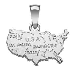 1001 Bijoux - Pendentif U.S.A en argent rhodié