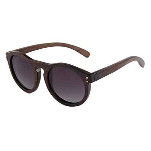Sonnenbrille Polarisierte Retro Runde Rahmen Natürliche Holz Männer Und Frauen Im Freien Fahren Objektiv UV400 Anti-UV Visier Brille (Farbe: Dunkelbraun Rahmen Grau Objektiv)