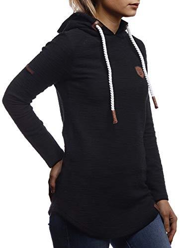 LEIF NELSON Damen Pullover-Hoodie Kapuze Kapuzenshirt | Moderner Sweatshirt-Kapuzenpullover | Frauen Longsleeve-Pulli Slim Fit Kapuzenpulli | LN1900 Schwarz X-Large