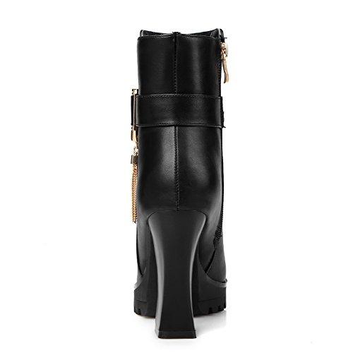 VogueZone009 Donna Punta Tonda Tacco Alto Bassa Altezza Puro Stivali con Talismano Nero