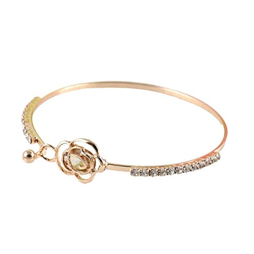 TAOtTAO Elegante Frauen Kristall Rose Blume Armreif Armreif Schmuck Gold - Silikon-armband-nike