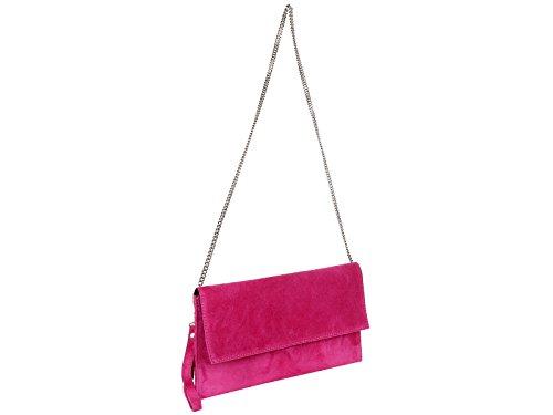 scarlet bijoux Damen Clutch Tasche Unterarmtasche Abendtasche Umhängetasche pink ca. 31 x 17 x 1 cm (B x H x T)