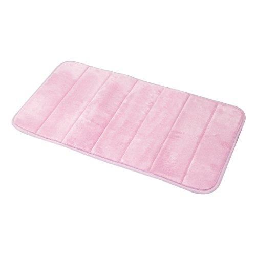 Carpemodo Schaumstoff Super Absorbierende Schnell Trocknende Badematte / Memory Foam / Größe: 40x70 cm / Farbe: Rosa / groß geriffelt
