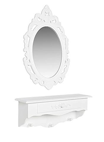 Commode accesoiresde bijoux plateau de stockage mural mur d'étagère avec miroir blanc