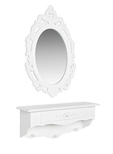 Landhaus Schmuckkonsole Wandkonsole Wandregal Ablage Regal mit Spiegel Weiß