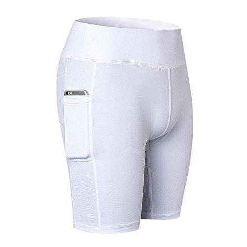 Damen Kurze Hose Kompressionshose Kurz Leggings Sport Shorts Sommer Thermo Leggins Laufhose Yoga Pants Fitnesshose Sporthosen Tights Funktionswäsche Radhose Unterhosen Weiß S Juleya