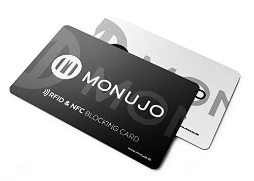 MONUJO - RFID Blocker NFC Schutzkarte - Eine Karte schützt Sie vor Datendiebstahl und Skimming - für Kreditkarten, EC-Karte, Personalausweis, Reisepass