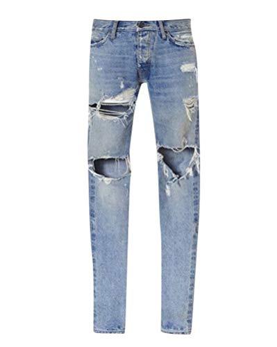 Emmay Herren Vintage Destroyed Denim Löcher Wesentlich Cher Hose Im Knie Jeans Slim Fitted Jeanshose Freizeithose Trousers (Color : Hellblau, Size : 30(Waist76CM)) -
