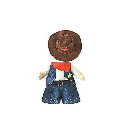 und Katze Halloween Kostüme, der Cowboy für Party Christmas Special Events Kostüm, West Cowboy Uniform mit Hut, Funny Pet Cowboy Outfit Kleidung für Hund, Katze, ()
