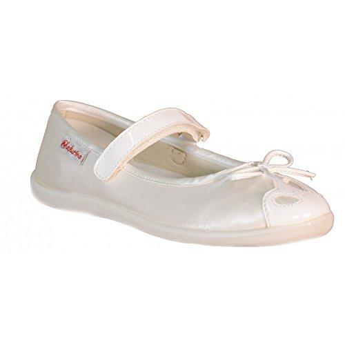 Naturino - Naturino Ballerina Bambina Bianca Pelle Tela Strappi 8045 - Bianco, 32