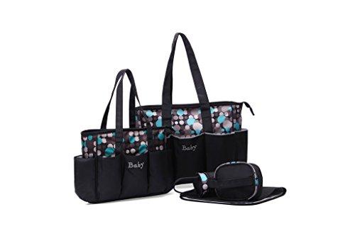 EwigYou 5-Teiliges Wickeltasche-Set Gepunktete Pflegetasche mit Zwei Mummy Taschen Punkt Grau