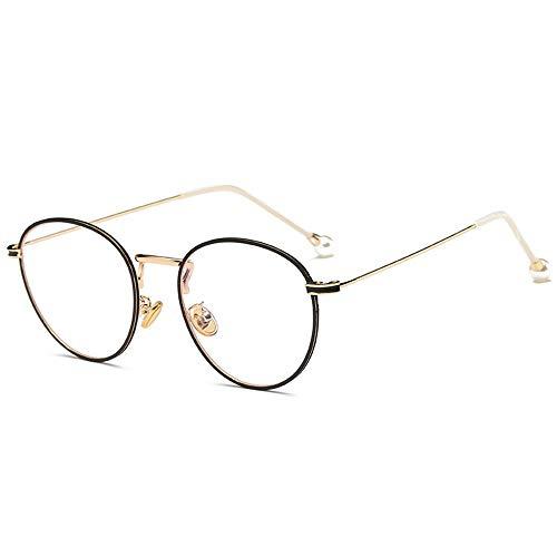 AdorabFrames Brille Brillengestell Mode Brillenglas Literatur Perle flacher Spiegel Retro Trend Gestellspiegel unisexuell goldener Rahmen schwarzer Kreis