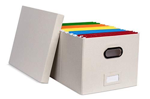 Internet's Best Zusammenklappbare Aufbewahrungsbox für Ordner, dekorative Leinen, zum Abheften und Aufbewahren von Büromaterial, Brief/legal 1 Pack cremefarben -