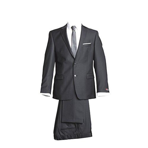 Preisvergleich Produktbild atelier torino Business Anzug Sakko Prestige mit Seitenschlitzen Hose Rex ohne Bundfalte Schwarz Uni Normale Passform Classic Fit 100% Schurwolle, 330g 58