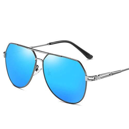 Easy Go Shopping Retro Trend Sonnenbrillen Herren Polarisierte Sonnenbrille mit Etui - UV 400 Schutz 61MM. Sonnenbrillen und Flacher Spiegel (Farbe : Blau)