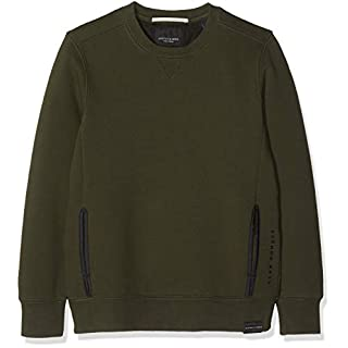 Scotch & Soda Shrunk Jungen Sweatshirt Club Nomade Crewneck Sweat, Grün (Green Nature 2522), 152 (Herstellergröße: 12)