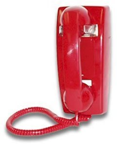 RED NO DIAL WALL PHONE WITH RINGER