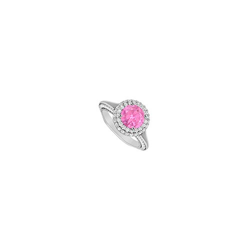 Two CT CZ and Created Pink Sapphire 14K White Gold Engagement Ring - Ring 2ct Cz Engagement