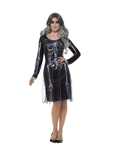 Smiffys Damen Lady Skelett Kostüm, Kleid, Größe: 40-42, ()
