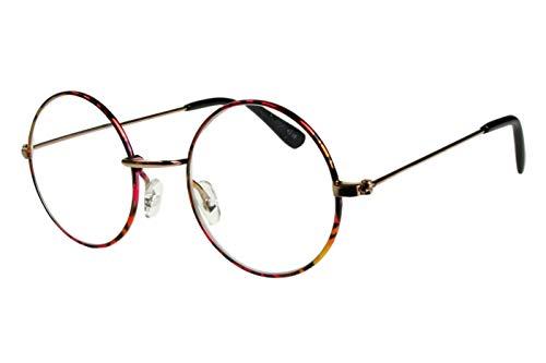 Lesebrillen Damen Herren Kirschrot schwarz gelb gepunkted glänzend große runde Gläser dünner Metallrahmen leicht schmale Bügel 1.0 1.5 2.0 2.5 3.0 mit Etui, Dioptrien:Dioptrien 2.5