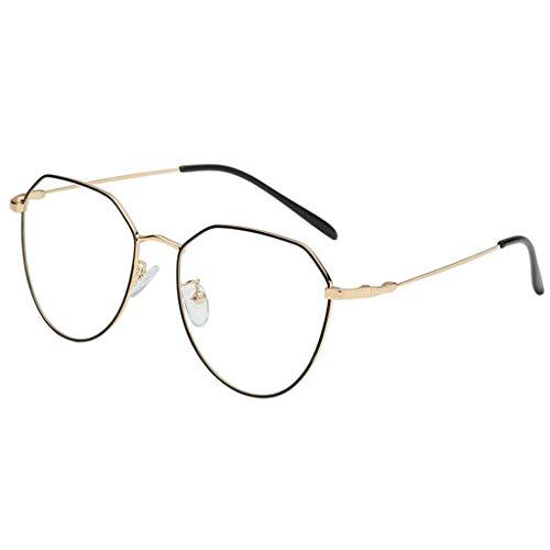 B Baosity klassische Brille Metallgestell Brillenfassung Vintage Brille Dekobrillen - Schwarz + Gold