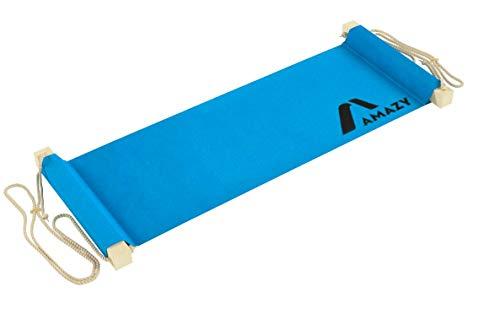 Amazy XXL Fuß Hängematte für breite Tische bis 2,00 m - Höhenverstellbare und extra breite Fußstütze zur Entspannung und Entlastung am Schreibtisch und im Büro (Blau)