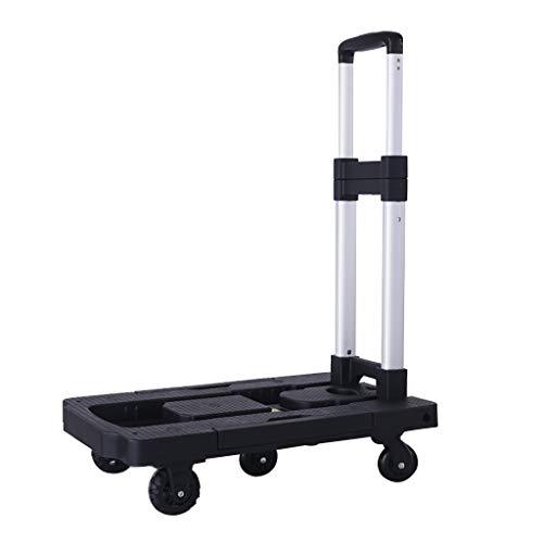 Unbekannt Faltbarer Handkarren-Sack-LKW - zusammenklappbarer Plattform-Wagen-Transportwagen mit 5 Rädern für Gepäck, Reise, Einkaufen, Auto, Umzug und Büro-Gebrauch -