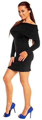Zeta Ville - Robe en maille encolure Bardot Coupe ajustée - femme 909z Noir