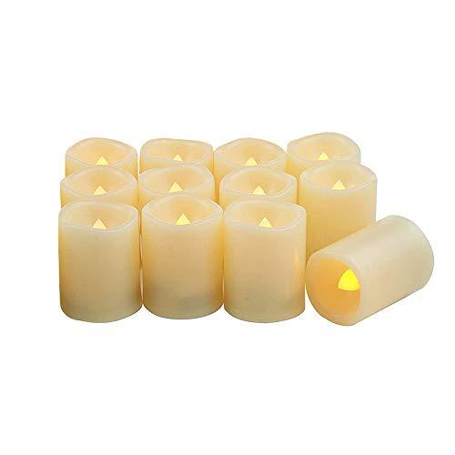 LED flammenlose Kerzen, batteriebetrieben 120+ Stunden ohne Duft Votivkerze Flackernde Kerzen für Heimdeko, Feste, Feiern, inkl Batterien, 12 Stück (Flammenlose Bulk Kerzen)