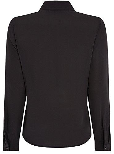 oodji Ultra Femme Blouse en Tissu Fluide Noir (2900N)