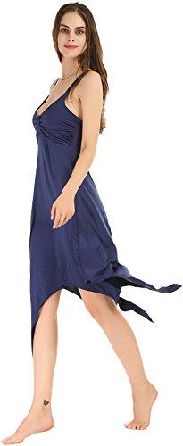 Damen Elegantes Sommer Kleid mit Tiefem V-Ausschnitt Langes Strandkleid ohne Ärmeln Saphirblau