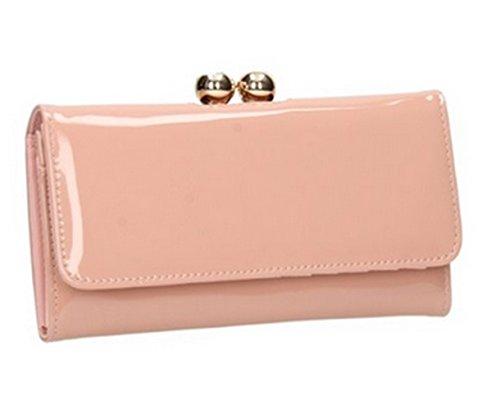 - 31sePHbizFL - Ladies Fashion Designer Patent Kisslock Clutch Wallet Women's Quality Celebrity Gorgeous Purse CWP1038 CWPRX686605 (686605 Nude/Pink)