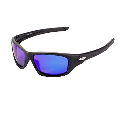 YEFENRA Gafas de Sol Deportivas Polarizadas Para Hombre Perfectas Para Esquiar Golf Correr Ciclismo TR90 Súper Liviana Para Hombre y Para Muje (marco mate negro/lente azul)