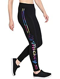 Fflirtygo Stretchable Track Pant, Gym Wear Yoga Exercise Walk Jogging Workout Active Sports Aerobics Fitness or Everyday Lower Leggings Tights for Women, Multicolor Metallic Stripe Print on Black