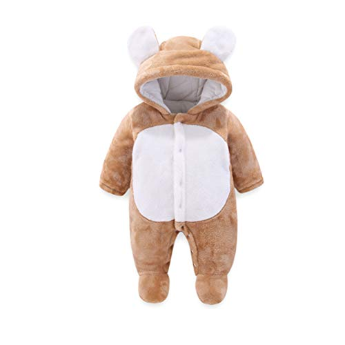 Baby Strampelanzug mit Füssen, Mütze für Jungen und Mädchen, mit Kapuze, für 0-12 Monate, Halloween, Cosplay-Kostüm 6-9 Monate braun (8 Monat Halloween Kostüme)