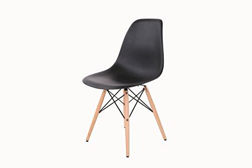 HNNHOME Chaise Inspirée Eiffel Dîner Salon Mobilier Moderne - Noir