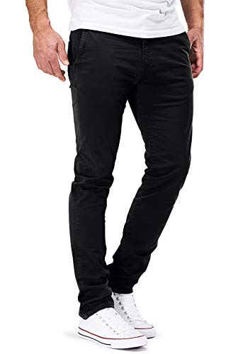 DSTROYED ® Chino Herren Slim fit Chinohose Stretch Designer Hose Neu 505 (32-32, 505 Schwarz) -