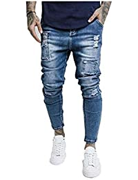 6bd9b31bf89 SikSilk - Bust Knee Low Rise Jeans, Washed Blue