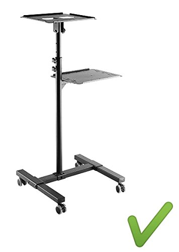 Systafex PRAKTISCHER MOBILER BEAMERWAGEN Projektor Notebook Beamer Laptop Tisch Ständer Rollwagen Medienwagen Beamtertisch stabil höhenverstellbar neigbar