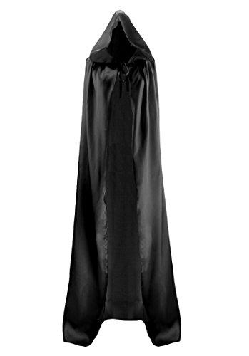 discoball Halloween Umhang mit Kapuze Vampir Kostüm Damen Herren Lang Satin Samt Cape Erwachsener Unisex Kapuze für Karneval Fasching Cosplay Party Einheitsgröße ca. 150cm (Samt Vampir Erwachsene Kostüme Damen)