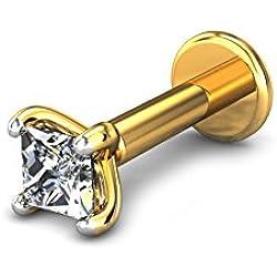 Candere By Kalyan Jewellers 18k (750) Yellow Gold and Diamond Startburst Nose Pin