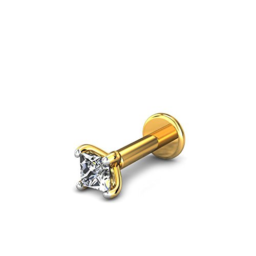 Candere By Kalyan Jewellers 18k (750) Yellow Gold and Diamond Startburst Nose Pin