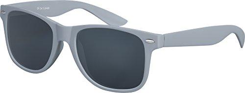 Original Balinco UV400 CAT 3 CE Vintage Unisex Retro Wayfarer Sonnenbrille - verschiedene Farben in Einzel - Doppelpack & Dreierpack wählbar (Einzelpack - Rahmen: Grau Matt, Gläser: Schwarz)