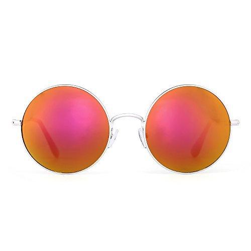 JM Retro Runden Blinken Sonnenbrille Reflektierend Kreis Linsen Legierung Brillen Dame Herre(Silber/Blinken Rot)