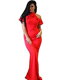 Ex-Chain Store Brands Ex-ASOS Frío Volante Superior Maxi Vestido En Rojo